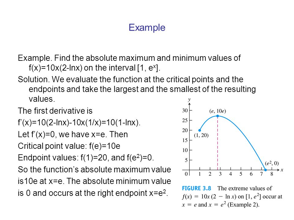 Example Example. Find the absolute maximum and minimum values of f(x)=10x(2-lnx) on the interval [1, ex].
